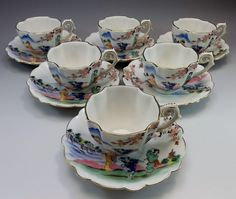 Lot 6 Kutani China Kosen Japan Demitasse Tea Cup Saucer Pink Flowers Geisha Girl #Kosen