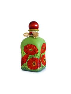 Hand painted bottle with decoupaged poppies by AnnaLanskyWorld, $35.00