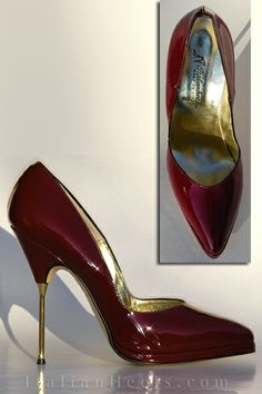 burgundy patent leather pump with metal heel