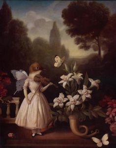 """Lullaby"" by Stephen Mackey. L'arte di Stephen Mackey. Art Fantaisiste, Art Mignon, Art Et Illustration, Lowbrow Art, Whimsical Art, Surreal Art, Aesthetic Art, Dark Art, Art Boards"