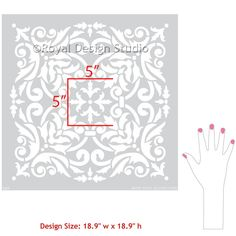European Damask Wall Stencils for Floors & DIY Tile – Royal Design Studio Stencils Damask Wall Stencils, Damask Decor, Stencil Painting On Walls, Stencil Patterns, Stencil Designs, Tile Stencils, Stenciling Walls, Furniture Stencil, Bird Stencil
