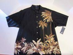 Nautica Hawaiian Shirt 2XL XXL Short Sleeve Black Brown Ivory NEW #Nautica #ButtonFront
