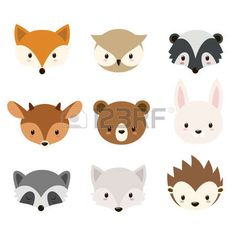 Cute woodland animals collection Animals heads isolated on white background Stock Vector