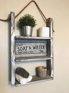 Looking for for images for rustic farmhouse? Browse around this website for cool rustic farmhouse ideas. This particular rustic farmhouse ideas looks completely wonderful. Rustic Wall Shelves, Bathroom Wall Shelves, Rustic Walls, Bathroom Storage, Shelf Wall, Wood Shelf, Floating Shelves, Rustic Wood, Wall Wood