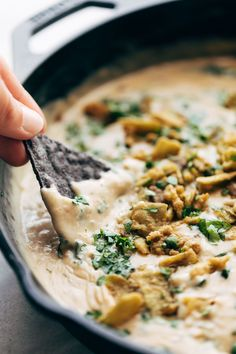 Step up your appetizer game for Friendsgiving this year with this crispy + spicy recipe for Jalapeño Spinach Queso, made with fried onions and topped with cilantro. Best Dip Recipes, Real Food Recipes, Vegetarian Recipes, Favorite Recipes, Healthy Recipes, Cheesy Recipes, Yummy Recipes, Appetizer Dips, Appetizer Recipes