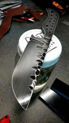 "#NightTurtleKnives #NTKBlades NightTurtleKnives.etsy.com Smoky Finish 1/4"" #o1toolsteel #beltknife #knives #coppertubes #copperpins #G10"