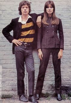 mid 1960's fashion--Mick Jagger and French singer Francoise Hardy...
