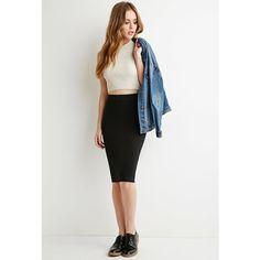 Forever 21 Stretch Knit Pencil Skirt ($6.90) via Polyvore featuring skirts, forever 21, full length skirt, knee length skirts, white pencil skirt and knee length full skirt