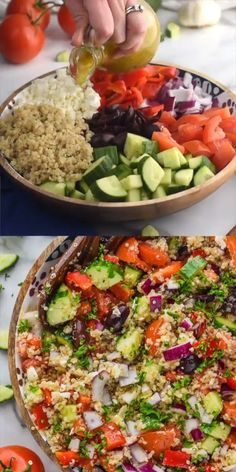 Greek Quinoa Salad This is such a great light dinner that makes for perfect leftovers! The post Greek Quinoa Salad & Salat appeared first on Vegetarian recipes . Best Salad Recipes, Salad Dressing Recipes, Diet Recipes, Vegetarian Recipes, Cooking Recipes, Healthy Recipes, Healthy Meals, Salad Recipes For Dinner, Dinner Salads