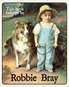 Barefoot Boy & Collie Personalized Vintage Bookplate Labels. $15 for set of 18 bookplates.