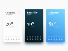 "#037 — Weather  Here we go with a clean and colorful weather app. Big serif fonts and gradients for the background. Please, don't forget to press ""L"" if you like it.  Thank you so much!"