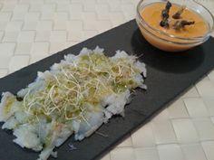 Carpaccio de bacalao con aceite de pistacho, perejil y cítricos. http://www.farmaciafrancesa.com