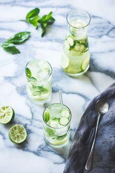 Sangria Verde with cucumber, melon, mint, basil and lime | using a Portugese Vinho Verde, a cousin of Prosecco just softer...