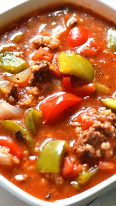 Slow Cooker Stuffed Pepper Soup Recipe ~ If you love stuffed peppers, you need to try this soup!