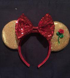 Belle/ Beauty & The Beast - Inspired Disney Minnie Mouse Ears Disney Ears Headband, Disney Minnie Mouse Ears, Disney Headbands, Disney Mickey Ears, Ear Headbands, Disney Diy, Disney Bows, Disney Crafts, Cute Disney