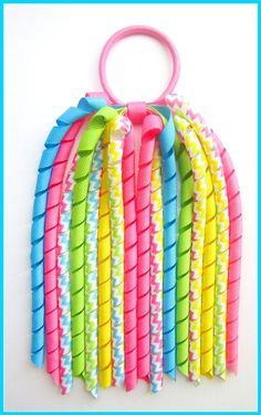 Bright Chevron Stripe Korker Streamer Ponytail-bright, chevron stripe, korker streamer, ponytail, streamer, pony o, grosgrain ribbon, girl, school, long hair, korker, headband, baby, toddler, girl, boutique, grosgrain ribbon, korksnkurls, uk, scotland, handmade,korker,streamer, bobble, pontail, bunches, elastic,
