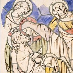 The Entombment (on - Design for a stained glass window by AWN Pugin from Stained Glass Windows, Collections, Easter, History, Architecture, Drawings, Image, Design, Art