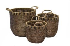 3 Piece Braided Seagrass Basket Set