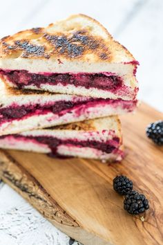 Lemon-Lavender Blackberry & Ricotta Grilled Cheese Sandwiches - *can be vegan I Love Food, Good Food, Yummy Food, Sandwiches, Lavender Recipes, Yummy Treats, The Best, Food To Make, Delish
