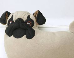 cute plush PUG PILLOW beige mops/ tan pug mops cushion, art doll Gift for dog lover, Gift for wife uncle son man girl sister mom friend