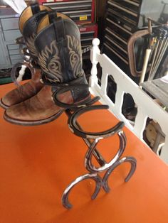 Horse shoe boot rack by FabricationsByBruce on Etsy