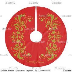 Golden Border - Ornament I + your backgr. color Brushed Polyester Tree Skirt