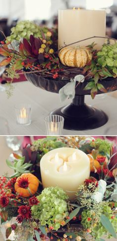 Easy fall wedding centerpiece.  http://www.weddingchicks.com/2014/04/29/family-farmhouse-wedding-retreat/