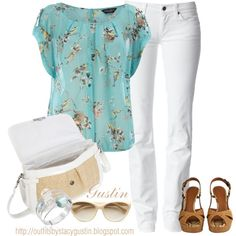 LOVE the floaty aqua top with birds!