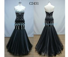 Sexy Black Sweetheart Mermaid Long Chiffon Evening Dress, Prom dress