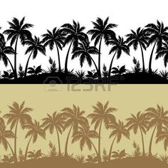 Palm trees, flowers and grass, black and brown isolated silhouettes, seamless pattern. Vector photo