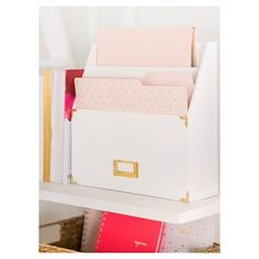 Sugar Paper File Folder Set with Labels, 12ct - Blush with Gold Patterns