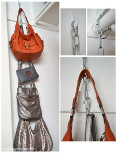DIY Hanging Purse Organizer all you need is a length of chain and some s-hooks. You simply arrange the s-hooks along the chain to accommodate your purses and to hang it, I used a carabiner.