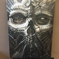 Fadi MICHAEL @fadimichaelart Airbrush freehand #categorycrush #biomech_collective #fadimichael #biomech #dark #surrealistic #art #geneva #blackend #skull #creation #gigerinspired #texture
