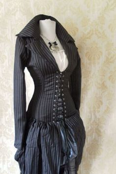 Pinstripe steel boned bustle corset coat, valkyrie lace front corset-to fit a 34-36 inch natural waist