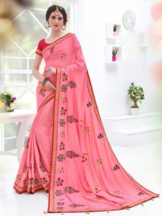 Pink Art Silk Saree with Embroidery Work