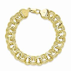 Top 10 Jewelry Gift 14k Triple Link Charm Bracelet * To view further for this item, visit the image link.