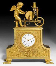 "KAMINPENDULE ""L'AMOUR AIGUISANT SA FLECHE"", Empire, das Zifferblatt sign. CHARLES LE ROY A ORLEANS, Frankreich um 1810/20."
