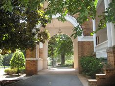The archway outside of Main Hall on the Converse College Campus.