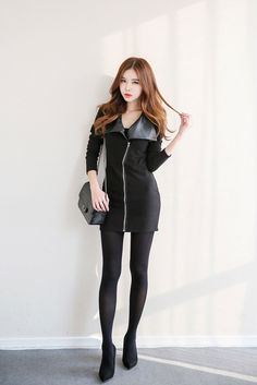 Leather Collar Zip Dress