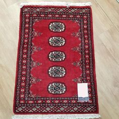 Pakistan Princes Bokhara design rug is hand-knotted, with fine wool Size : cm
