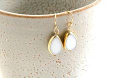 Drop Earrings in White