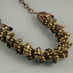 Antique Brass and Matte Green Cellini Spiral Necklace