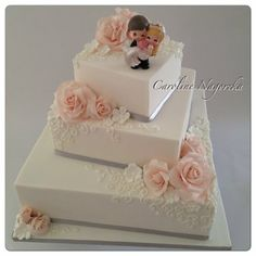Dainty and sweet wedding cake ~ all edible sugar roses and hand piped
