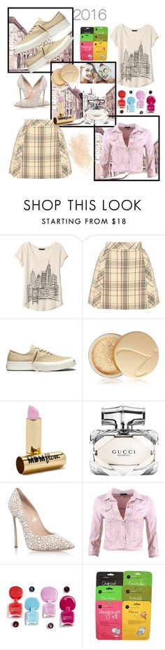 """""""Untitled #143"""" by pretty0329 ❤ liked on Polyvore featuring Banana Republic, Delpozo, Converse, Jane Iredale, MDMflow, Gucci, Casadei, FRACOMINA and Eve Lom"""