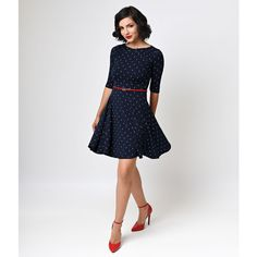 Unique Vintage Nautical Anchor Good Ship Knit Flare Dress ($88) ❤ liked on Polyvore featuring dresses, navy blue, fit and flare dress, print dress, anchor print dress, sailor dress and flare dress