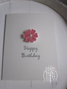 Quilled flower // pink on antique white // by APaperLifeOriginals