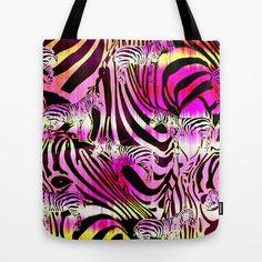 Wild+Zebra+Tote+Bag+by+Vikki+Salmela+-+$22.00 #tote #bag #shopping #zebra #pink #cool #art #society6 #skin #home #accessory #gift #polkadotstudio