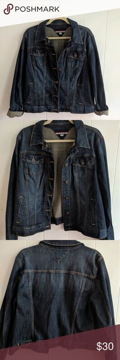 Tommy Hilfiger Jean Jacket Classic jean jacket from Tommy Hilfiger. Dark wash denim with a slight lightening on the back from collar to mid-back. Never worn. Size XL. Wash cold, and wash and dry inside out. Tommy Hilfiger Jackets & Coats Jean Jackets