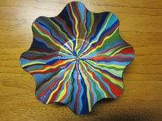 Painted Vinyl Record Bowl Recycled Art Recycled Vinyl