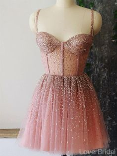 Straps Rhinestone See Through Dusty Pink Homecoming Dresses Online, Ch – LoverBridal Cheap Short Prom Dresses, Hoco Dresses, Pretty Dresses, Sexy Dresses, Formal Dresses, Summer Dresses, Beautiful Short Dresses, Wedding Dresses, Mini Prom Dresses